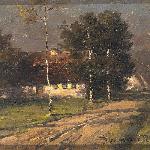 Keller-Reutlingen, Paul Wilhelm. Bauernhaus mit Birken in stimmungsvollem Morgenlicht. Öl/Holz. 16 x 20 cm. Sign.