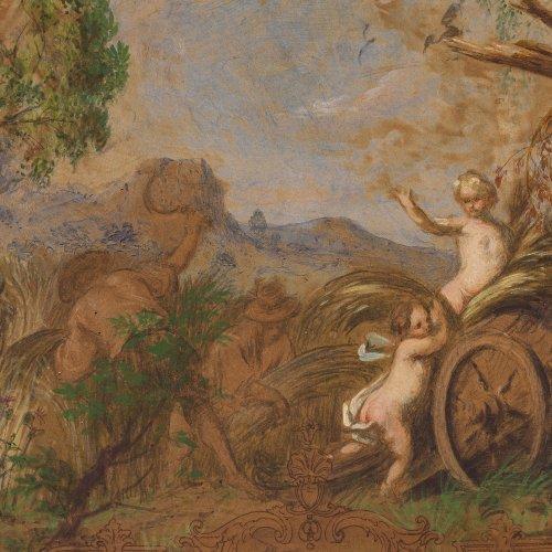 Schachinger, Gabriel, zugeschrieben. Entwurf für ein Deckengemälde, Allegorie des Herbstes. Mischtechnik/Karton. 22,5 x 32,5 cm. Unsign.