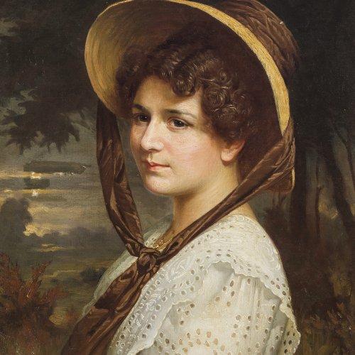 Immenkamp, Wilhelm. Junges Mädchen mit Strohhut. Öl/Lw. 61 x 49 cm. Doubl., rest. Sign.