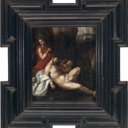 Spranger, Bartholomäus, Umkreis. Alttestamentarische Szenerie. Öl/Holz. 18,5 x 16 cm. Rest., unsign.