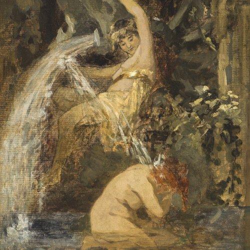 Kray, Wilhelm, zugeschrieben. Spielende Nymphen an einer Quelle. Ölstudie/Karton. 49,5 x 34,5 cm. Unsign.
