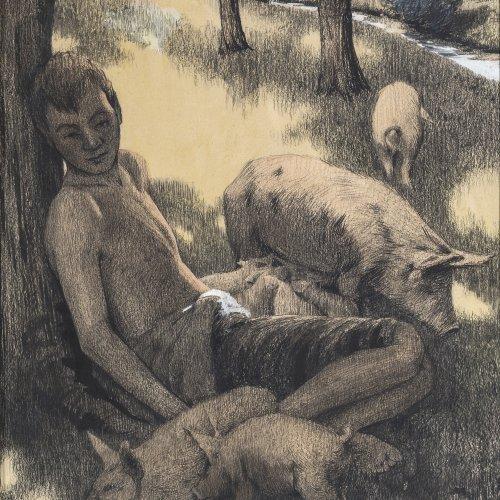 Berchtold, Josef, Der Verlorene Sohn, Federzeichnung.