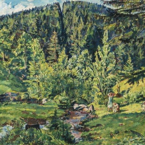 Büttner, Erich. Waldlandschaft mit Mädchen an einem Bach. Öl/Holz. 59 x 68,5 cm. Sign., dat.
