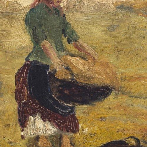 Pettenkofen, Ritter von. Magd bei der Feldarbeit. Öl/Karton. 21,3 x 16 cm. Sign.