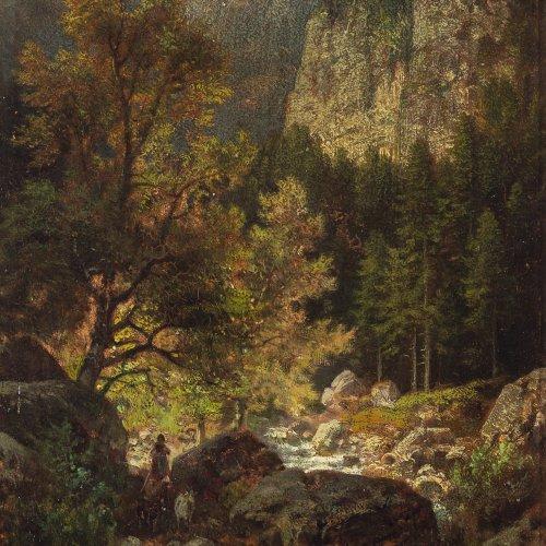 Sckell, Ludwig, Berglandschaft mit Bach und Ziegenhirtin, Öl/Holz, 20 x 15,5 cm. Sign.