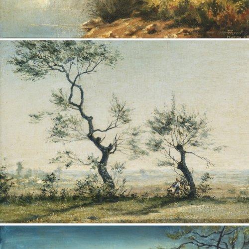 Arent, Benno, Trilogie (Morgen, Mittag, Abend). Öl/Lw. je 20,5 x 28,5 cm.