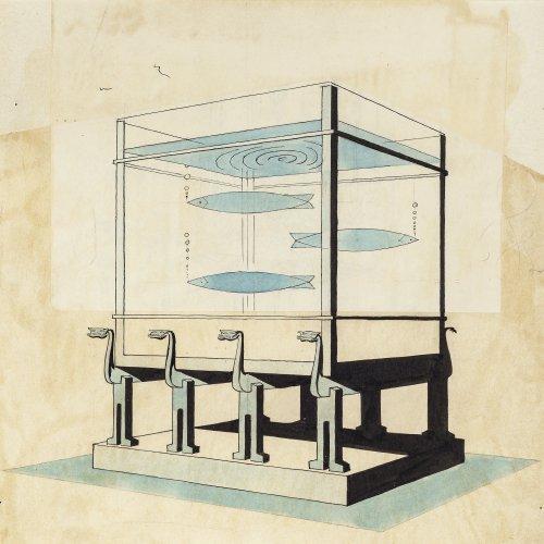 Heine, Thomas Theodor, zugeschrieben, Aquarium, aquarellierte Federzeichnung.