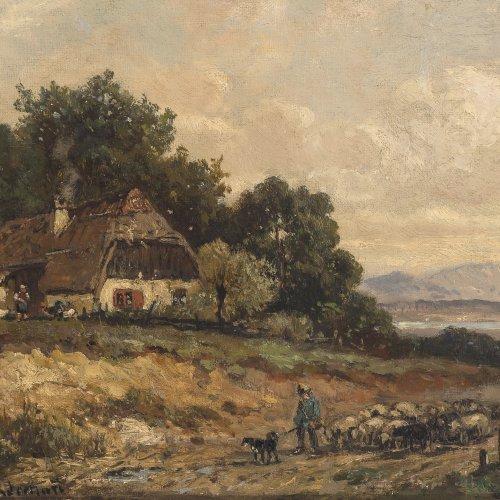 Stademann, Adolf, Schäfer mit Herde