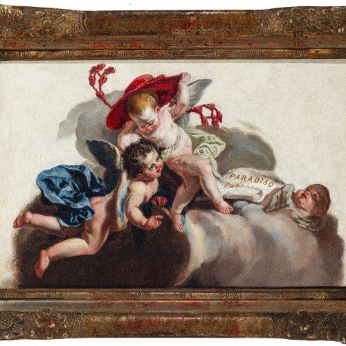 Paradisi, Domenico, zugeschrieben, Putten mit Kardinalshut, Öl/Lw.