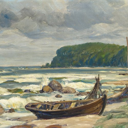 Tiedjen, Willy, Ostseestrand mit Ruderboot, Öl/Lw.