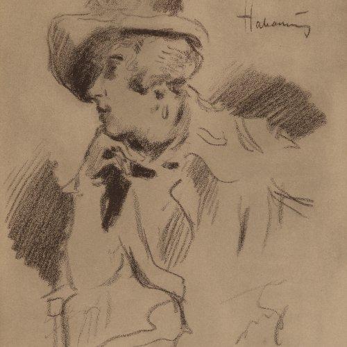Habermann, Hugo von, Mädchen mit Hut