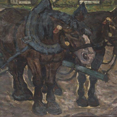 Thümen, H. Freiherr von, Ackergäule, Öl/Karton, 47 x 61,5 cm, Sign.