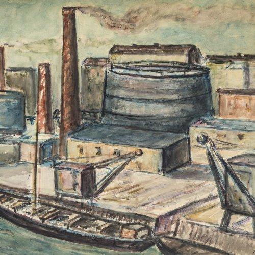 Thümen, H. Freiherr von, Industriehafen, Aquarell, 48,5 x 64 cm, sign.