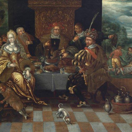 Franck, Sebastian, Umkreis. Reicher Mann und armer Lazarus. Öl/Holz. 35,3 x 43,7 cm.
