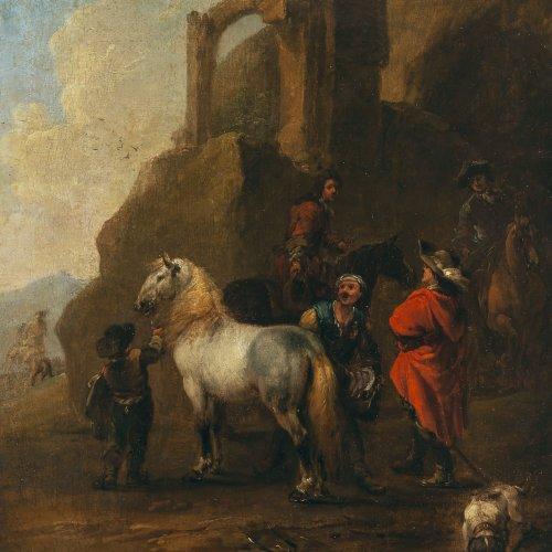 Querfurt, August. Der Knappe sattelt das Pferd seines Herrn. Öl/Lw. 33,5 x 27 cm.