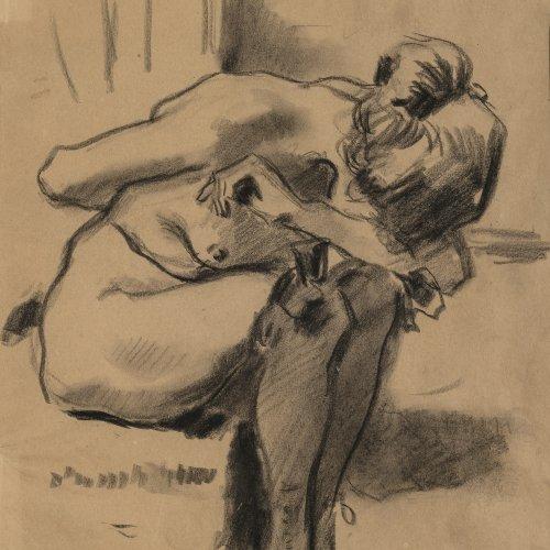 Habermann, Hugo von, gebücktes nacktes Mädchen