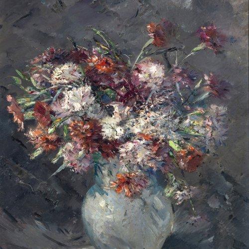 Marx, Franz, Blumenstrauß in einer Vase, Öl/Hartfaser, 60 x 50 cm.