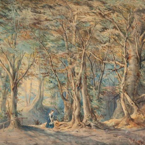 Sckell, Ludwig, Uferlandschaft mit Mädchen, Aquarell, 48 x 70 cm.