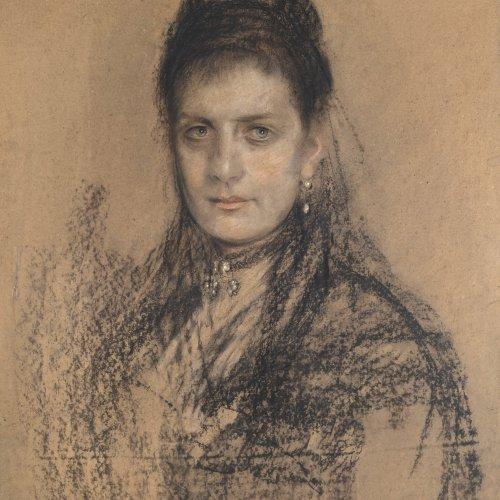 Lenbach, Franz, zugeschrieben, Damenporträt, 69 x 52 cm.