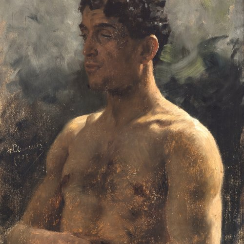 Clementz, Hermann, Halbporträt eines Südeuropäers, Öl/Karton, 50 x 35 cm.