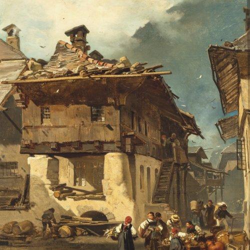 Hoguet, Charles, Marketender in einem Bergdorf, Öl/Lw. 45 x 36 cm, sign.