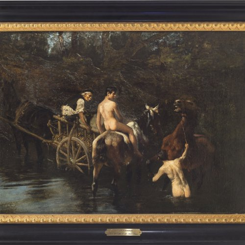 Schmitson, Teutwart, Pferdeschwemme, Öl/Lw. 46 x 64 cm.