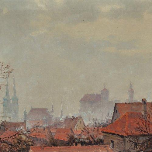 Dorn, Ernst, Blick über die Dächer, Öl/Lw. 47 x 62 cm.