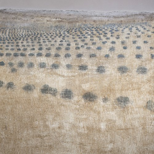 Stöver, Dieter, Lavendelfeld, Mischtechnik/Lw., 130 x 110 cm.