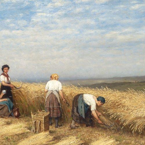 Geibel, Casimir, Getreideernte, Öl/Lw., 34,5 x 55,5 cm.