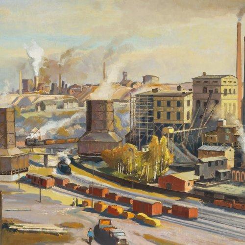 Tröger, Alfred, Industrieanlage, Öl/Hartfaser, 60 x 76 cm.
