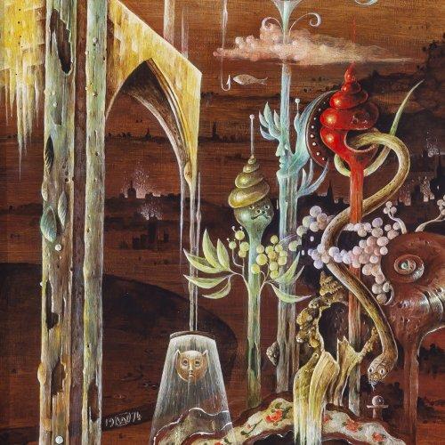 Angerer, Walter Andreas. Surrealistische Komposition. Öl/Hartfaser. 42 x 20 cm. Monogr., dat. 1974.