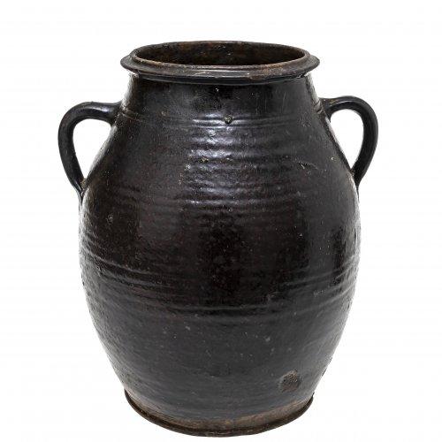 Doppelhenkeltopf, Irdenware, braun glasiert, H. 28,5 cm.