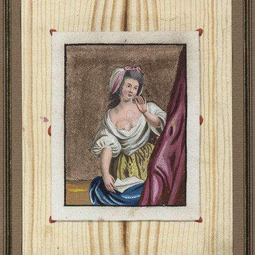 Winterschmidt, Christian Gottlob, zugeschrieben . Trompe-l'oeil. Aquarell. 17,5 x 14,2 cm. Unsign.