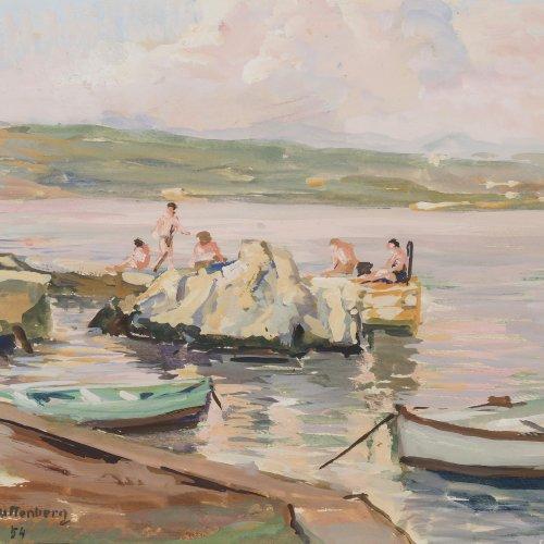 Guttenberg, Rosa von, Seeufer mit Badenden, Gouache.