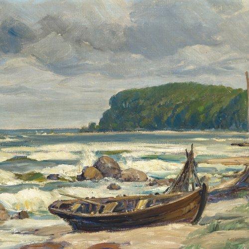 Tiedjen, Willy, Ostseestrand mit Ruderboot, Öl/Lw. 39 x 60 cm.