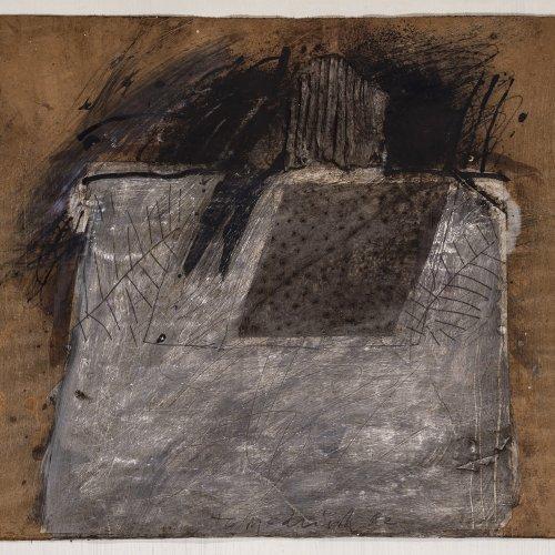 Tomschiczek, Peter. Abstrakte Komposition. Mischtechnik/Papier. 35,5 x 40,5 cm. Sign., dat. 82.