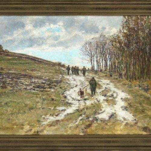 Köhler, Fritz, Jagdgesellschaft, Öl/Lw. 50,5 x 75,5 cm. Sign.