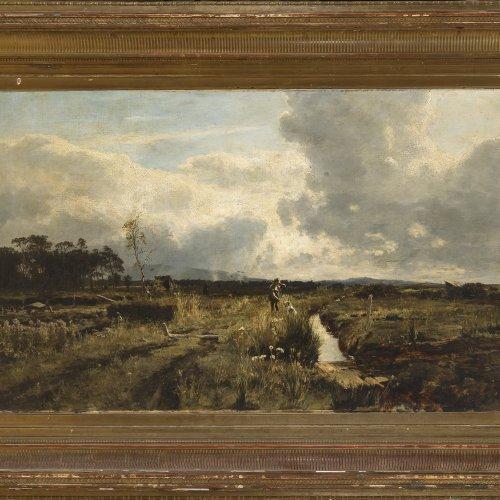 Bechtolsheim, Gustav Freiherr von. Jäger in Moorlandschaft, Öl/Lw. 72 x 120 cm.