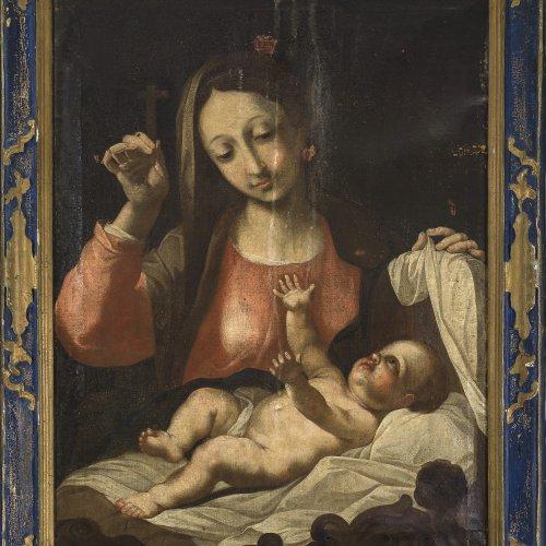 Giovanni Battista Salvi, gen. Sassoferrato, zugeschrieben. Madonna mit Kind, Öl/Lw. 81 x 62 cm.
