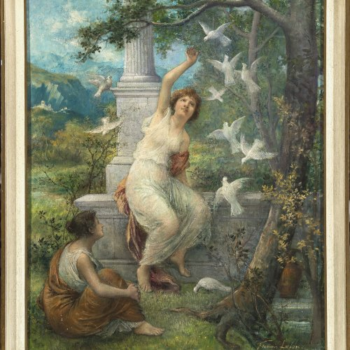 Lafon, Francois. Zwei Mädchen im Park, Öl/Lw. 72 x 59 cm