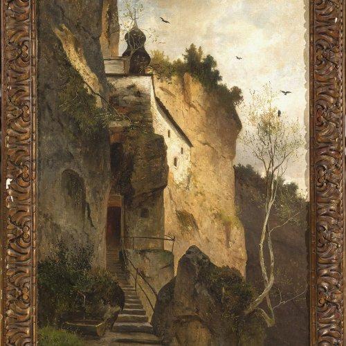 Krieger, Josef, Klause vom hl. Ruppert in Salzburg, Öl/Lw.  88 x 60 cm.