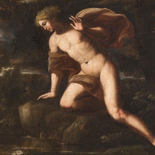 Italien, 17./18. Jh., Narziss vor der Quelle sitzend, Öl/Lw./Spanplatte, 69 x 130 cm.