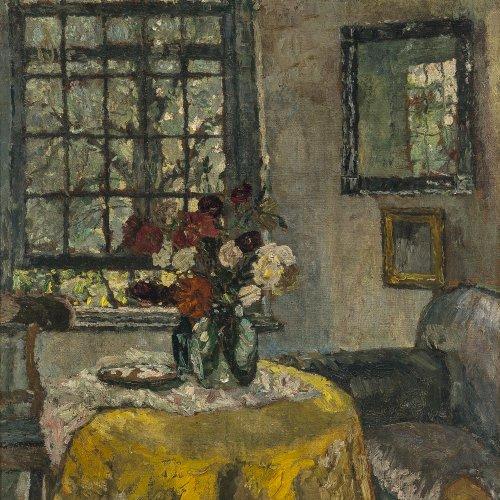 Brandis, August von. Zimmerinterieur. Öl/Lw. 75 x 60 cm. Sign.