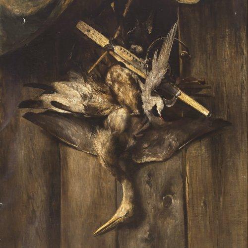 Langenmantel, Ludwig von(?)Geflügelstillleben, Öl/Lw. 130 x 103 cm.
