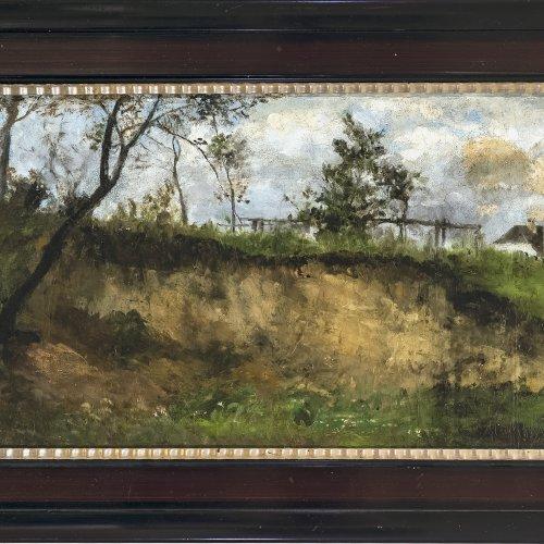 Schleich, Eduard, d. J. Frühlingstag. Öl/Karton. 28,5 x 49 cm. Sign.
