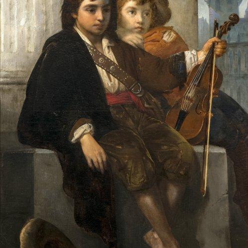 Hagelstein, Paul. Zwei kleine Musikanten. Öl/Lw. 126,5 x 91,5 cm. Rest., sign. , dat. 1860.