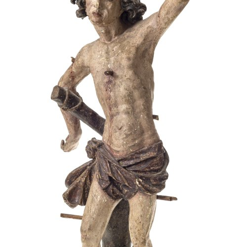 Zürn, Michael d.Ä., zugeschrieben. Hl. Sebastian. Holz, übergangene Farbfassung. H. 74 cm.