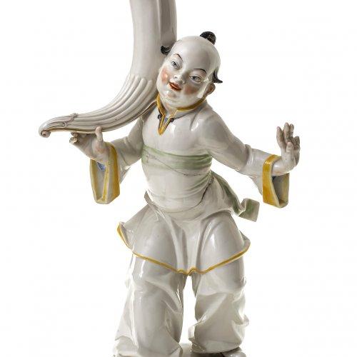 Tischlampe, Porzellanfuß Schwarzburger Werkstätten für Porzellankunst, Entwurf Hugo Meisel, Chinesenfigur,  H. 46 cm.