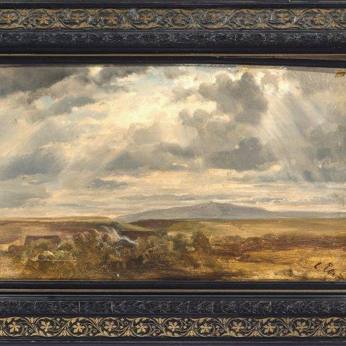 Ebert,  Carl. Weite Landschaft. Öl/Papier/Lw. 28 x 46 cm. Sign.