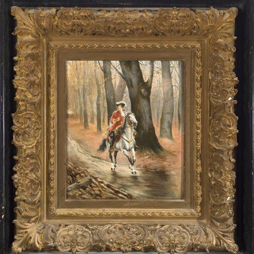 Baworowski, Anton Karl, Höfling auf einem Ritt durch den Wald, Öl/Holz, 27 x 22,5 cm. Sign.